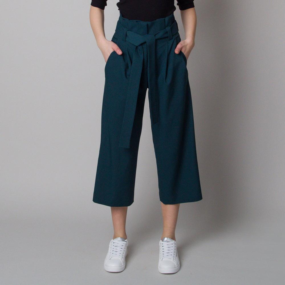 Dámske látkové nohavice culottes tmavo zelené 12618 36