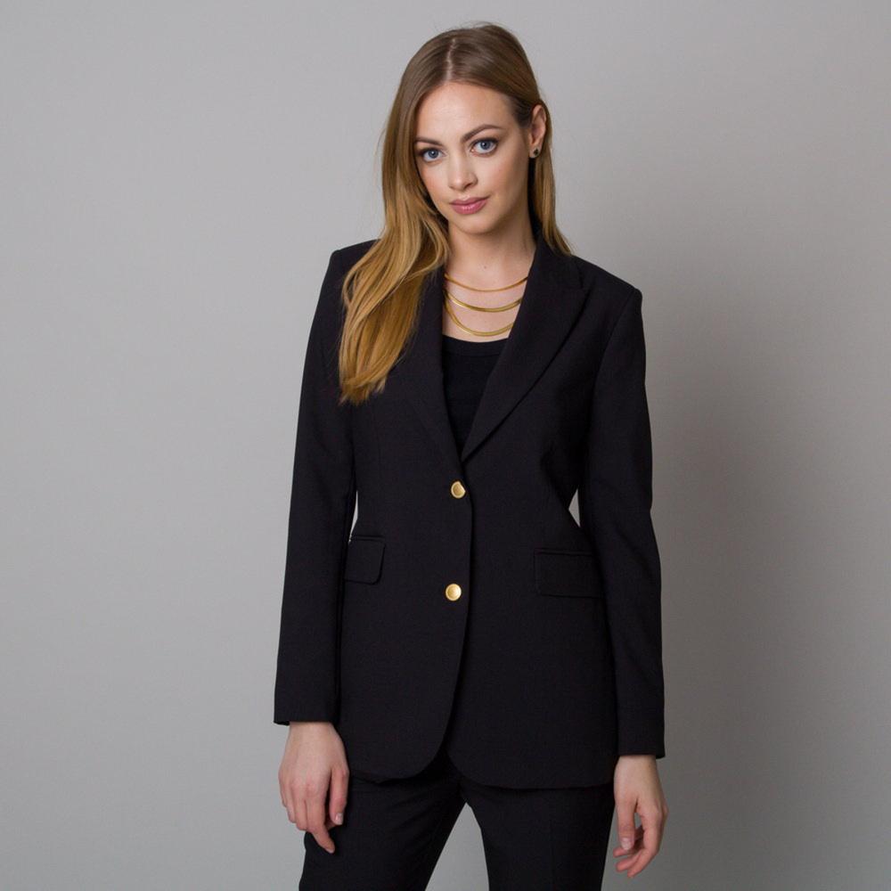 Dámske klubové sako čierne s hladkým vzorom 12693 40