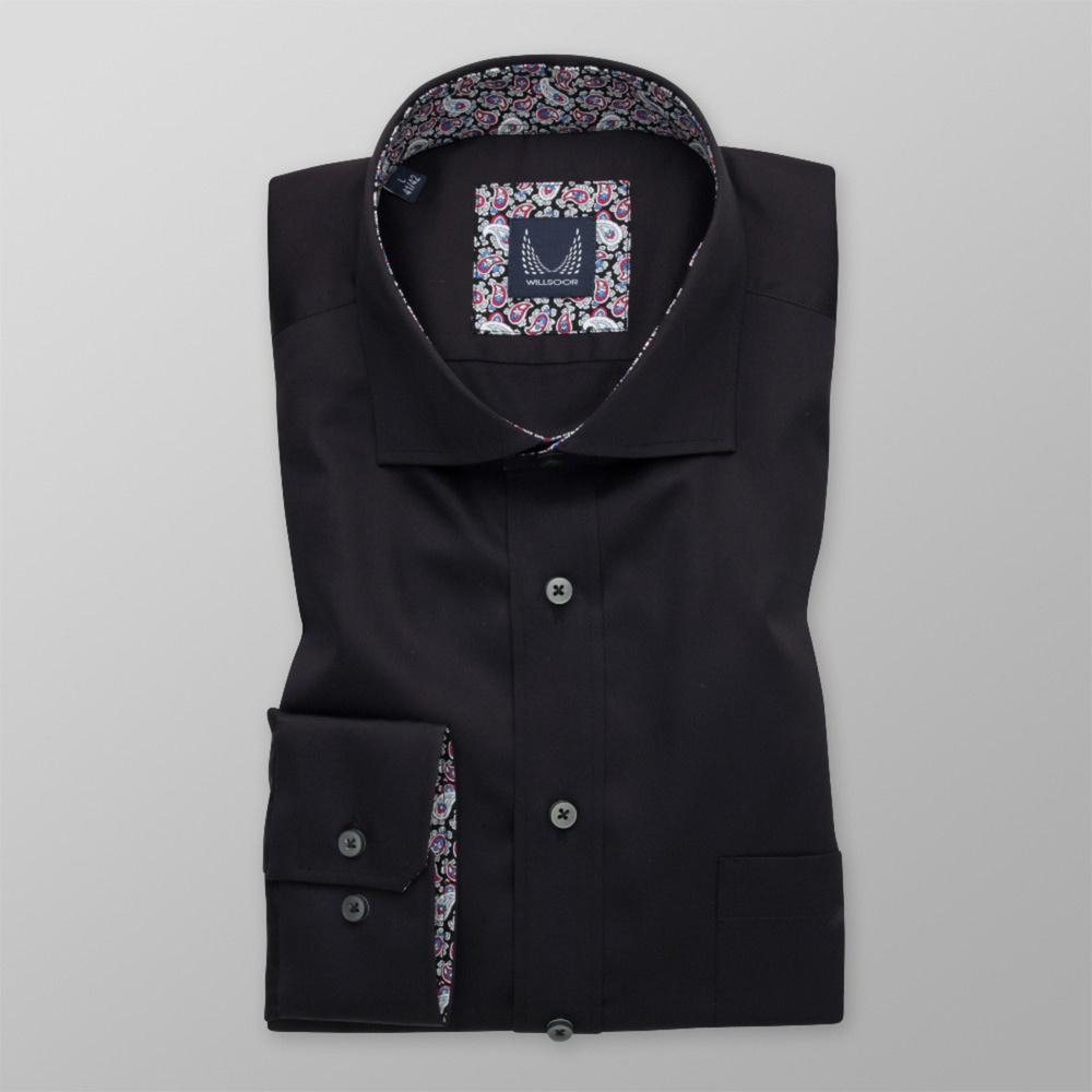 Pánska košeľa Slim Fit čierna s farebným vzorom paisley 12801 176-182 / L (41/42)