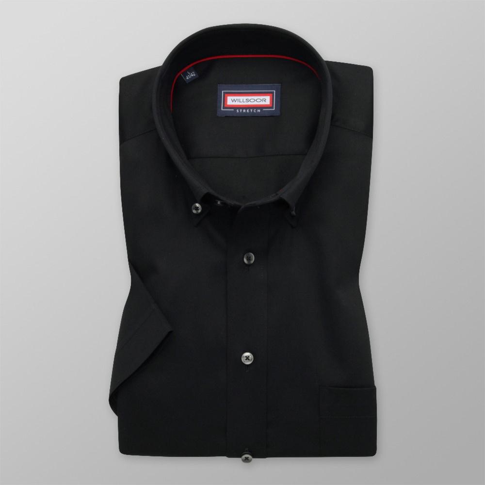 Pánska košeľa Slim Fit čierna s hladkým vzorom 12832 176-182 / L (41/42)