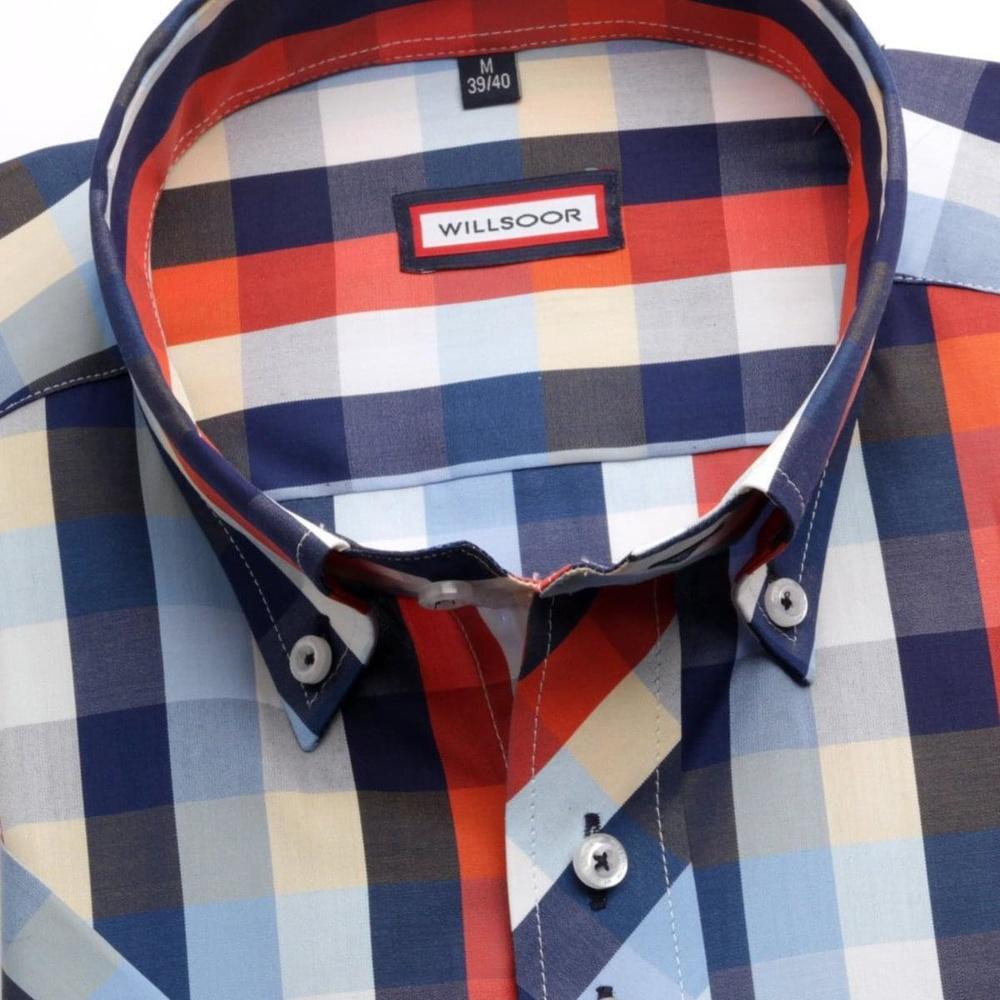 08e5c257178b Pánska košeľa WR Slim Fit s krátkym rukávom v modré farbe s kockou (výška  176