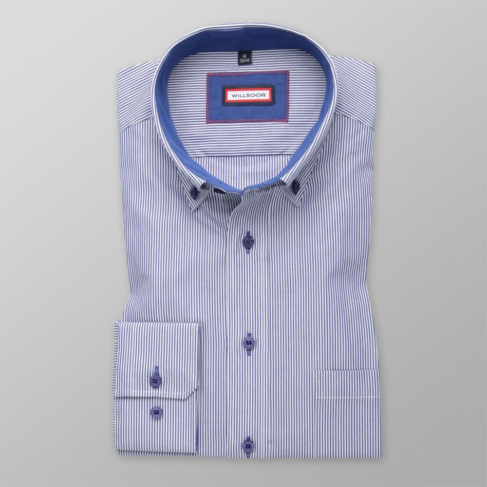 Pánska košele Slim Fit (výška 176-182) 5711 v modré farbe s bielym pásikom 176-182 / L (41/42)
