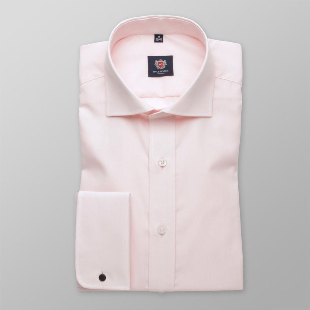 Pánska slim fit košele London (výška 176-182) 5971 v ružové farbe s formulou 2W Plus 176-182 / L (41/42)