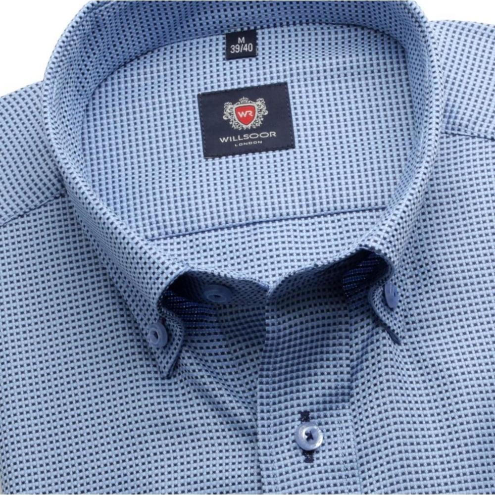 Pánska slim fit košele London (výška 188-194) 6260 v modré farbe a formulou Easy Care 188-194 / M (39/40)