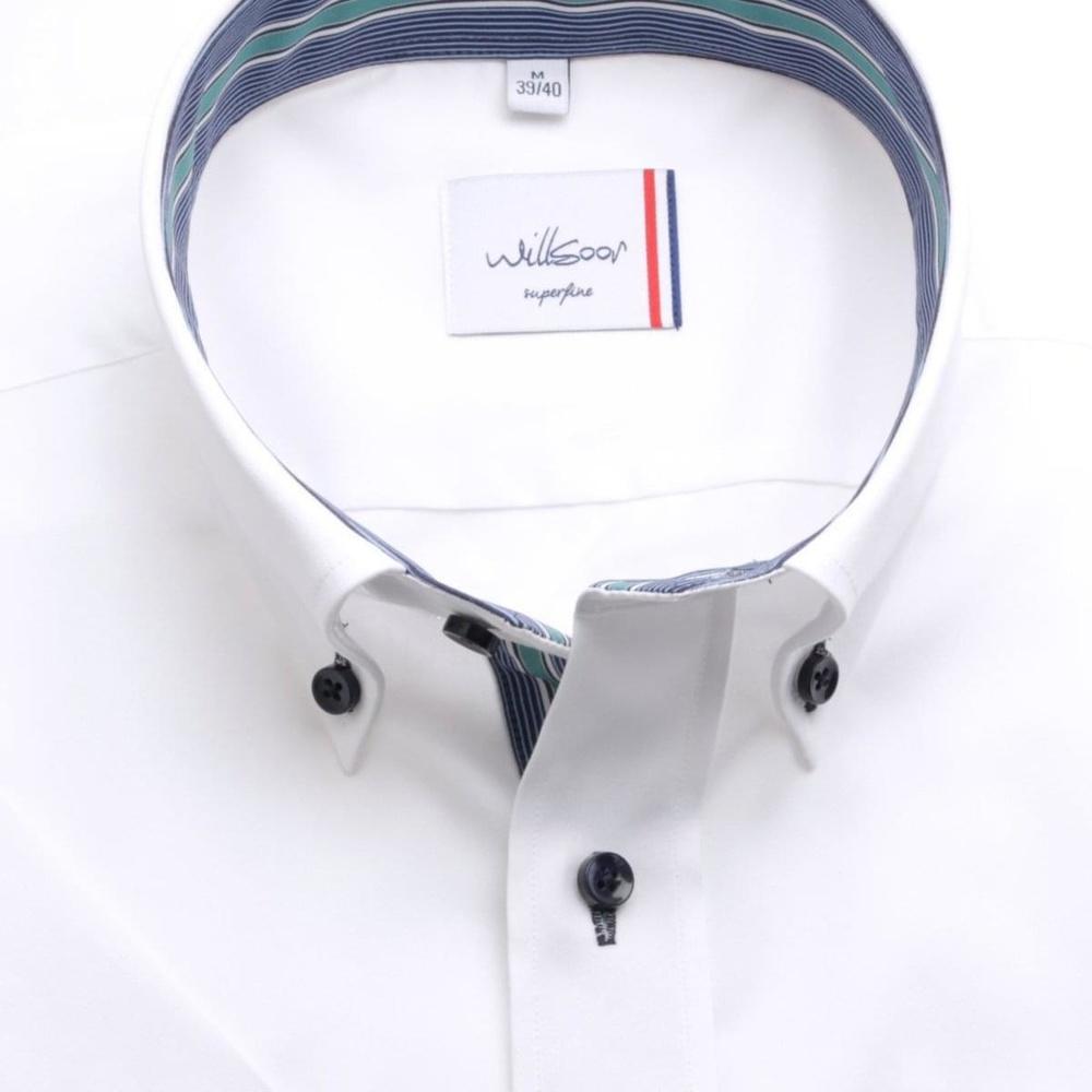 Pánska slim fit košele (výška 176-182) 6473 v biele farbe s krátkym rukávom 176-182 / M (39/40)