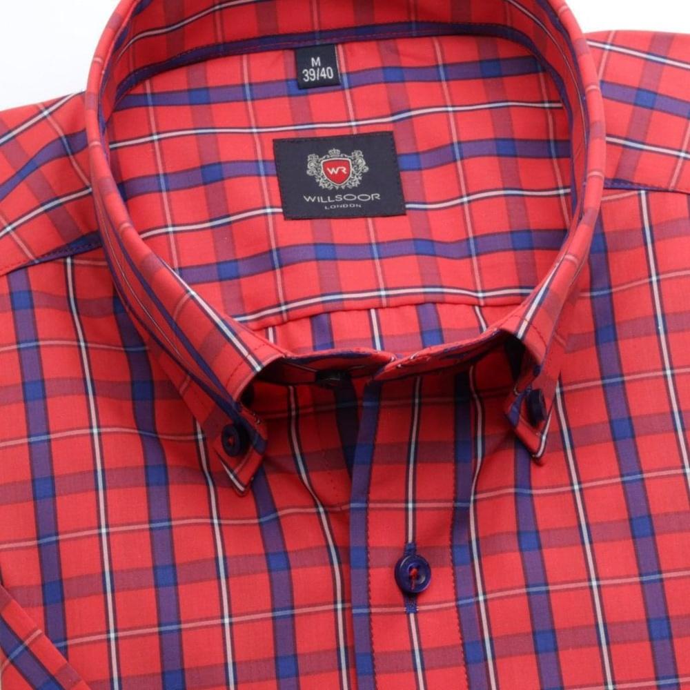 Pánska slim fit košeľa London (výška 176-182) 6560 v červené farbe s formulou Easy Care 176-182 / M (39/40)