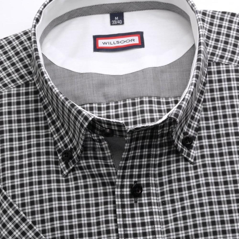 772b792238bc Pánska slim fit košeľa (výška 176-182) 6619 s krátkym rukávom a čierno