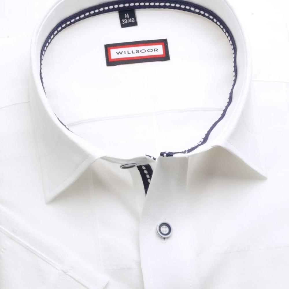 Pánska slim fit košeľa (výška 176-182) 6664 s krátkym rukávom v biele farbe 176-182 / M (39/40)