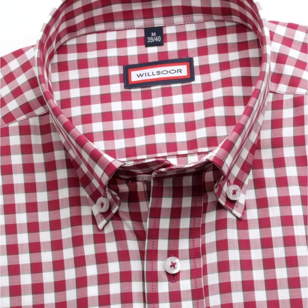 1187d246e899 Pánska slim fit košeľa (výška 176-182) 6863 s bielo-bordová kockou ...