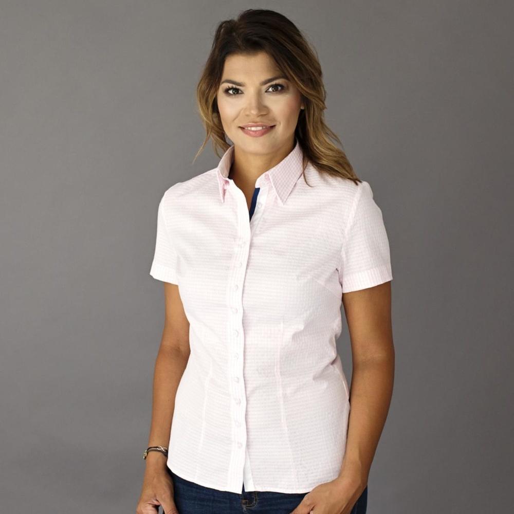 b7dc5bad452a Dámska košeľa s krátkym rukávom Willsoor 8124 s farebnou kostičkou ...