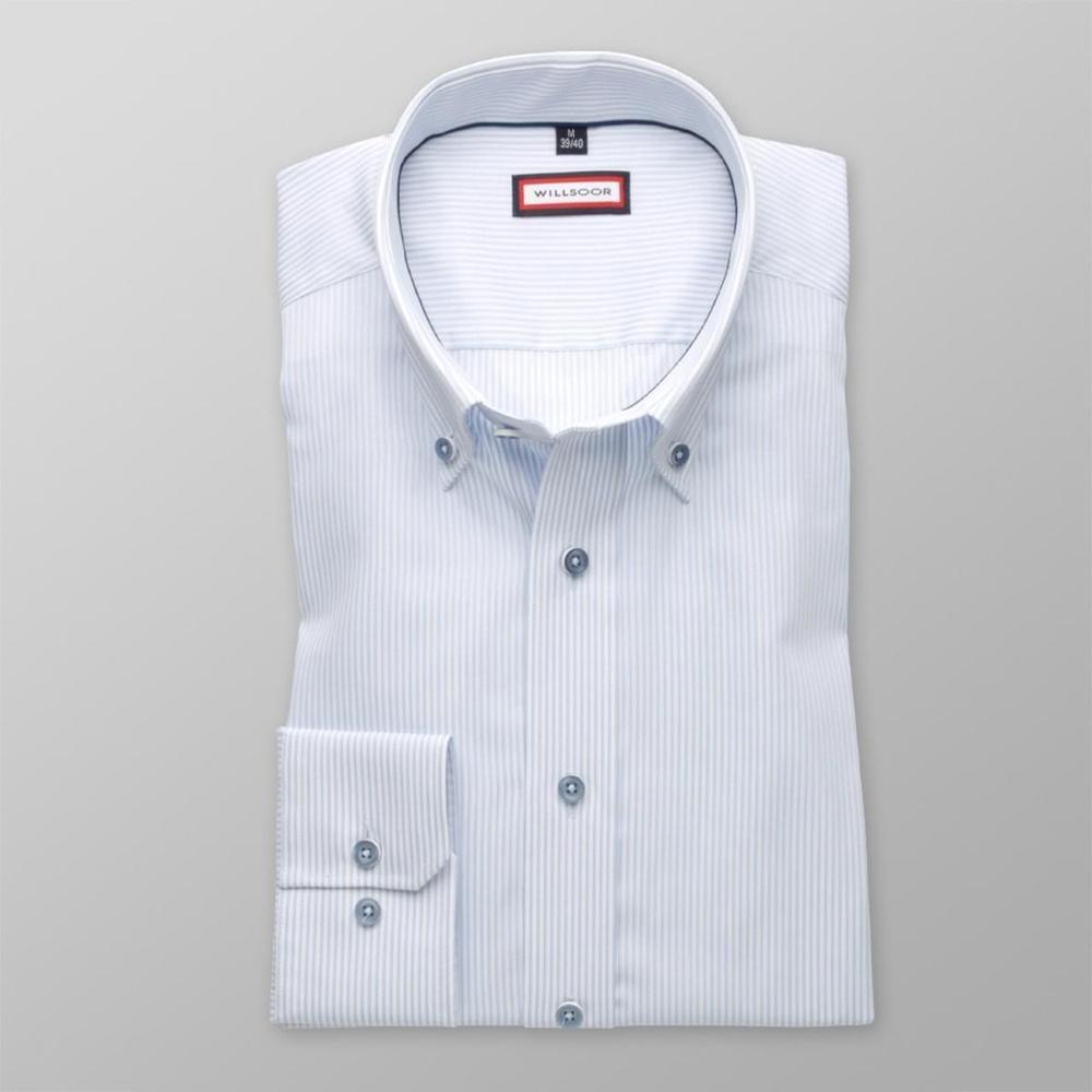 8717aaa2c859 Pánska slim fit košeľa (výška 176-182) 8128 s pásikmi v biele a ...
