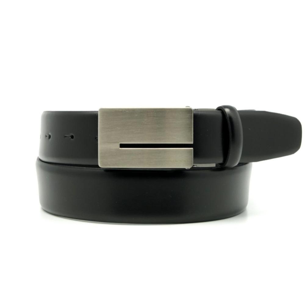Pánsky kožený opasok Willsoor 8528 v čierne farbe 90 cm