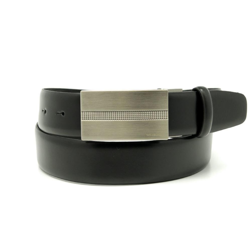 Pánsky kožený opasok Willsoor 8529 v čierne farbe 100 cm